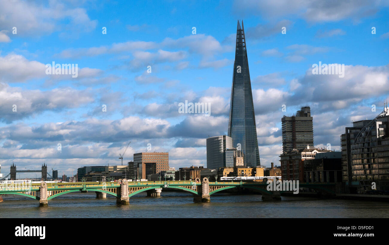 A view of the Shard building at London Bridge and the River Thames South London England UK  KATHY DEWITT - Stock Image