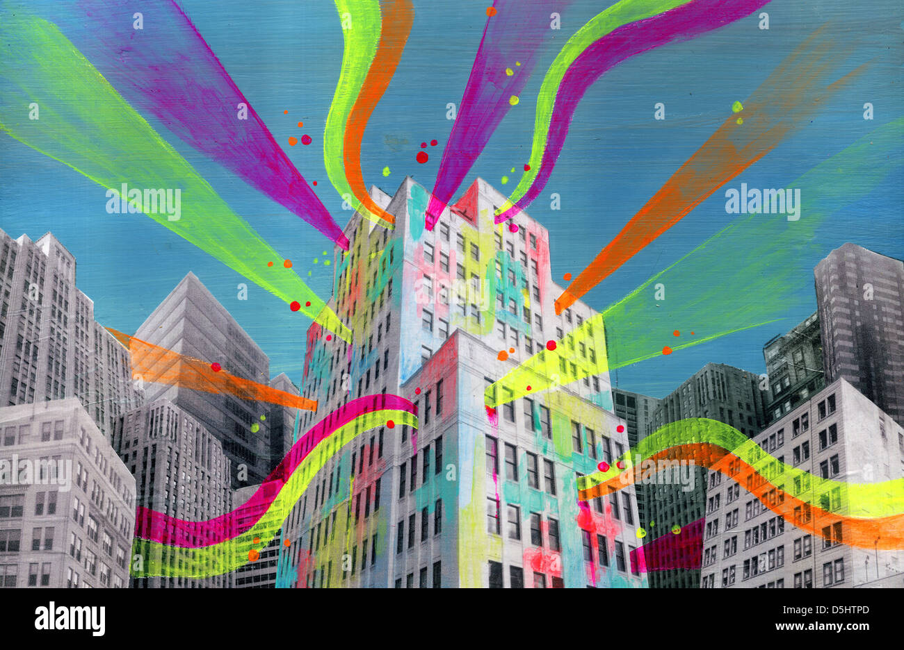Illustration of building emitting lights representing social networking Stock Photo