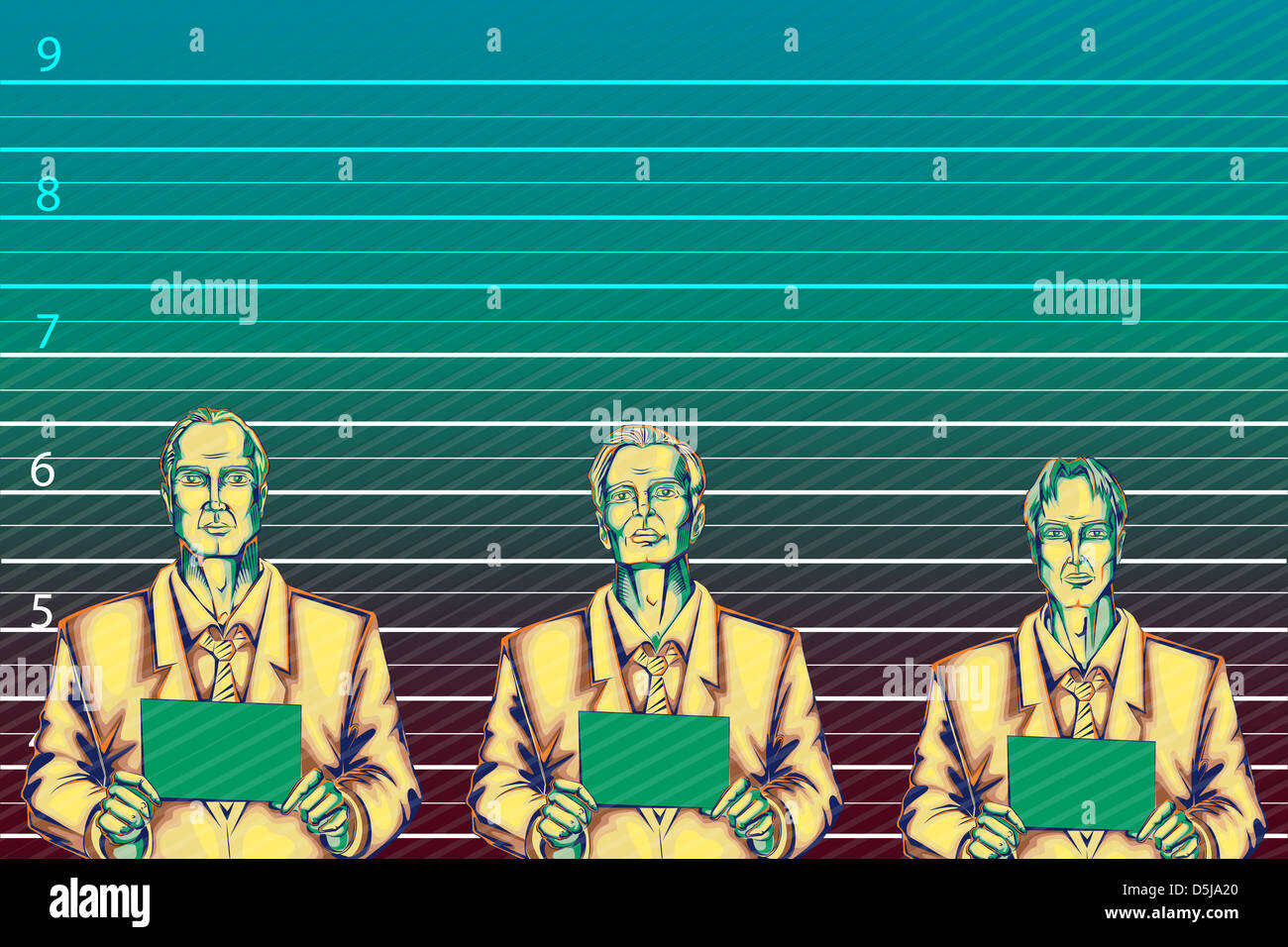 Illustrative image of businessmen standing against height chart representing business crime - Stock Image