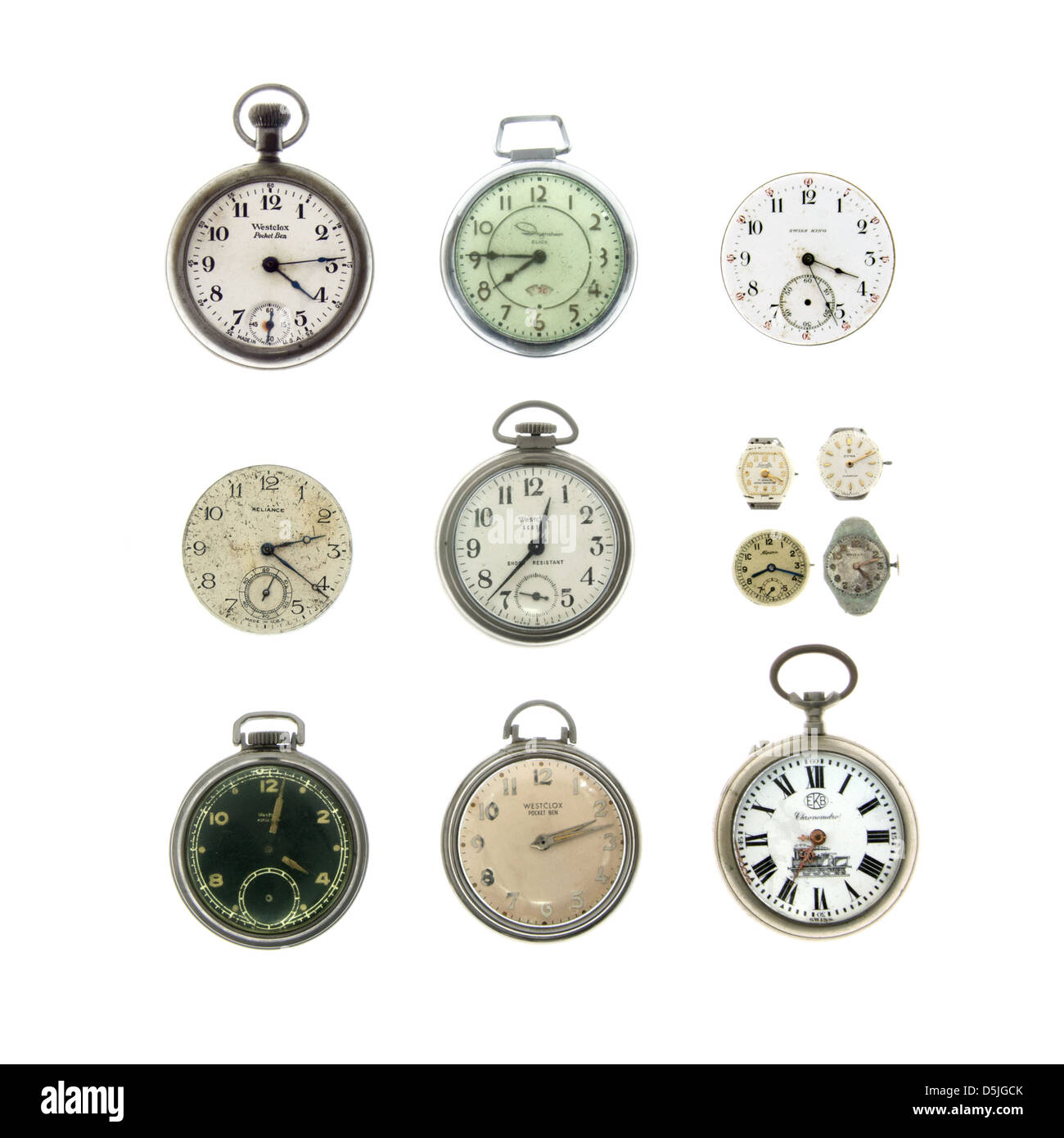 A collection of antique and vintage pocket watches and wristwatches on a white background. Stock Photo