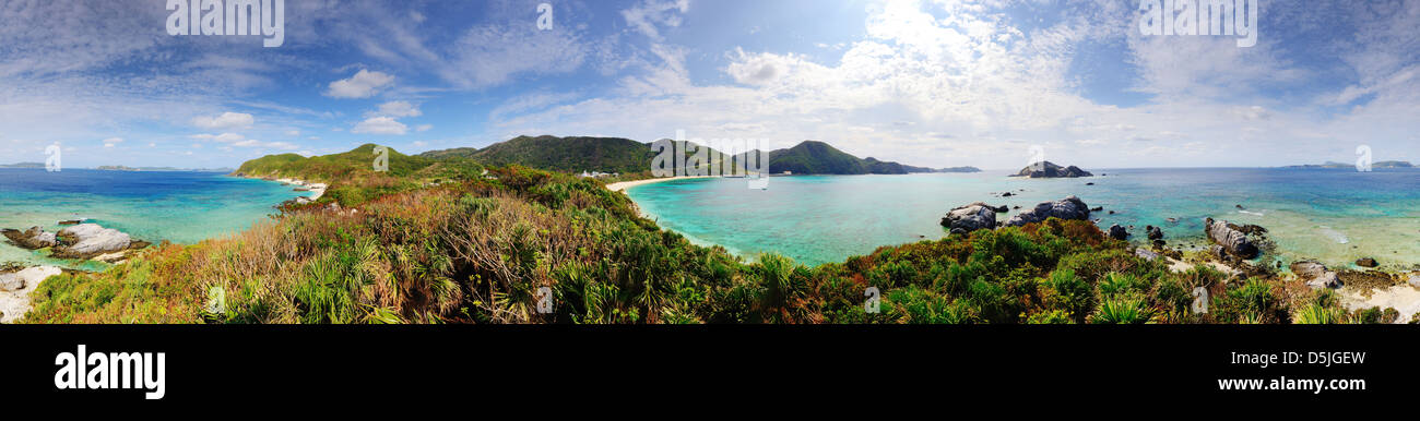 Panorama of Tokashiki Island in Okinawa, Japan. - Stock Image