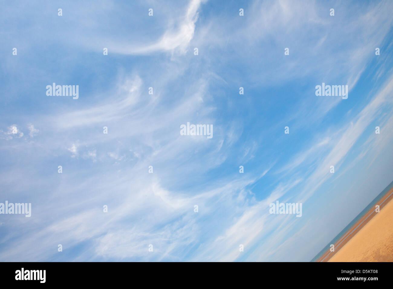 UK; NORFOLK; THORNHAM; SAND; SKY; ANGLE; BEACH; CLOUDS; DIAGONAL - Stock Image