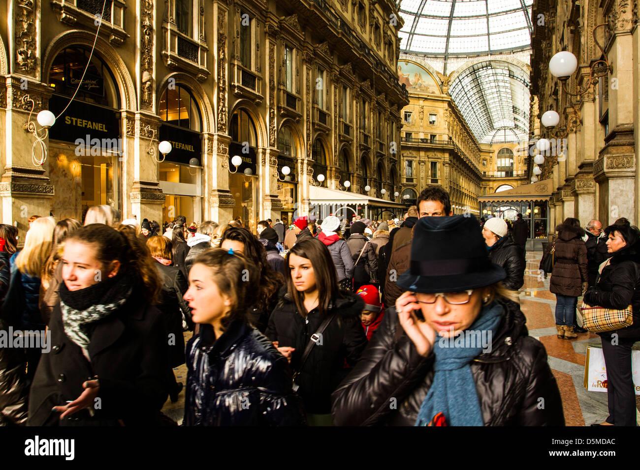 Interior of Gallery Vittorio Emanuele II (Galleria Vittorio Emanuele II), the oldest shopping mall in Italy. - Stock Image