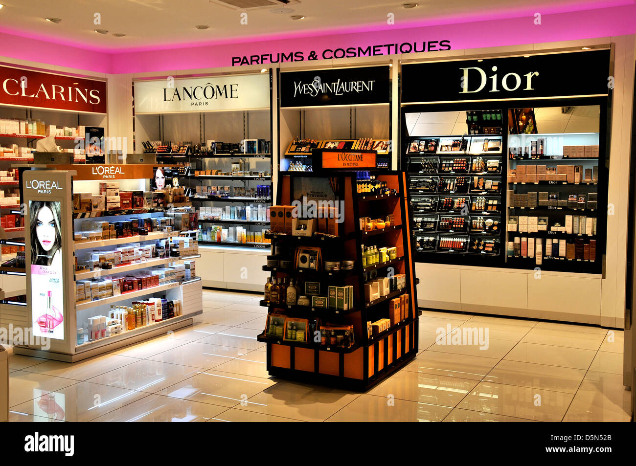 perfums and cosmetics boutique duty free shop lyon satolas saint stock photo 55169363 alamy. Black Bedroom Furniture Sets. Home Design Ideas