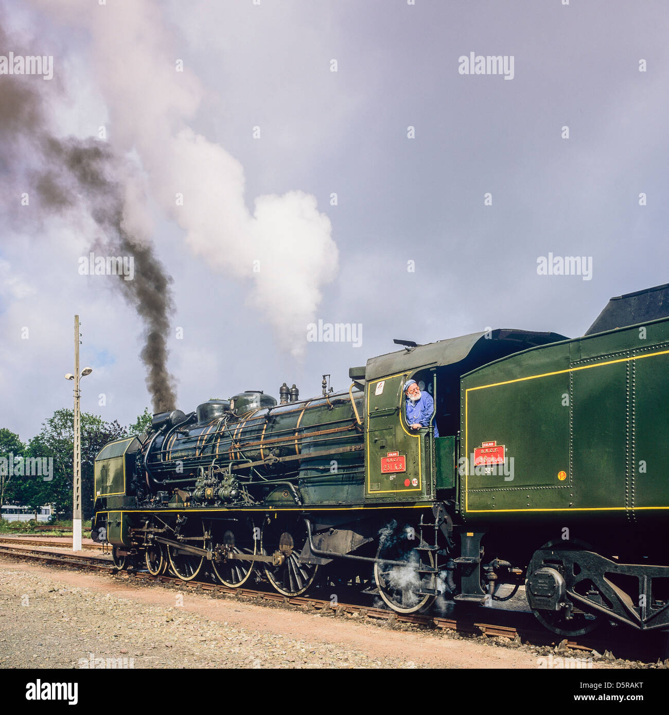 "Historic steam locomotive ""Pacific PLM 231 K 8"" of ""Paimpol-Pontrieux"" train Brittany France Stock Photo"