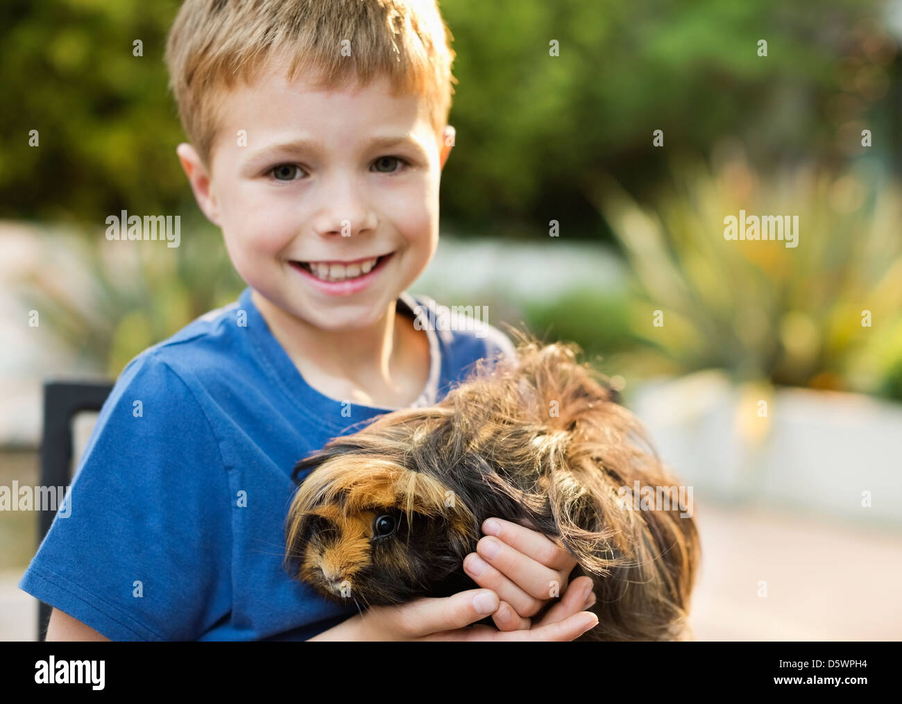 Smiling boy holding guinea pig outdoors - Stock Image