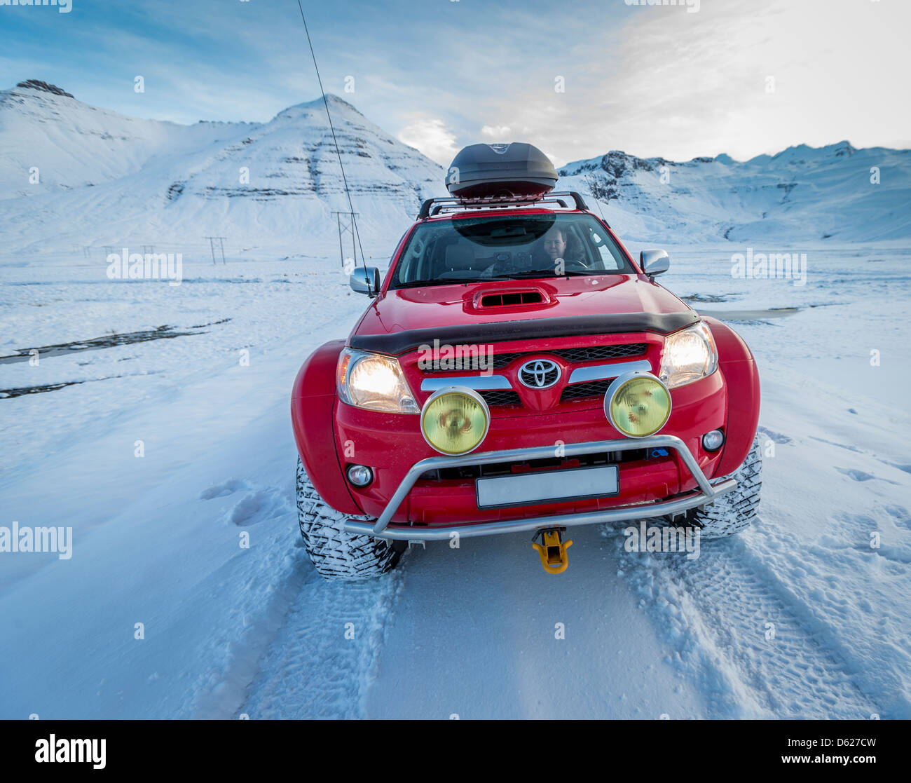 Off road driving on a snowy day in Western Iceland - Stock Image