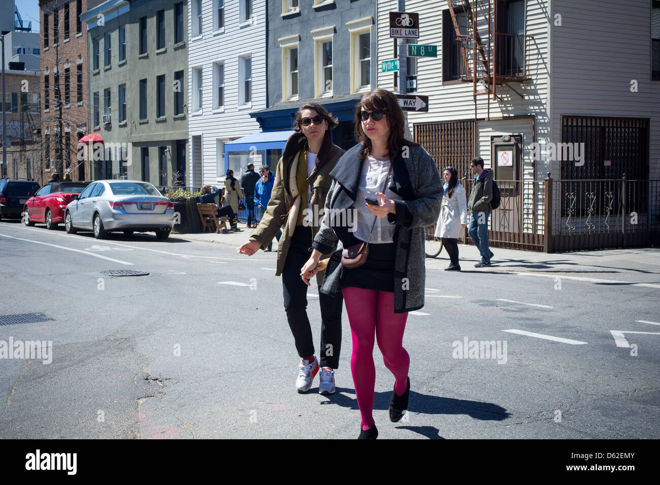 Street activity in trendy hipster Williamsburg, Brooklyn in