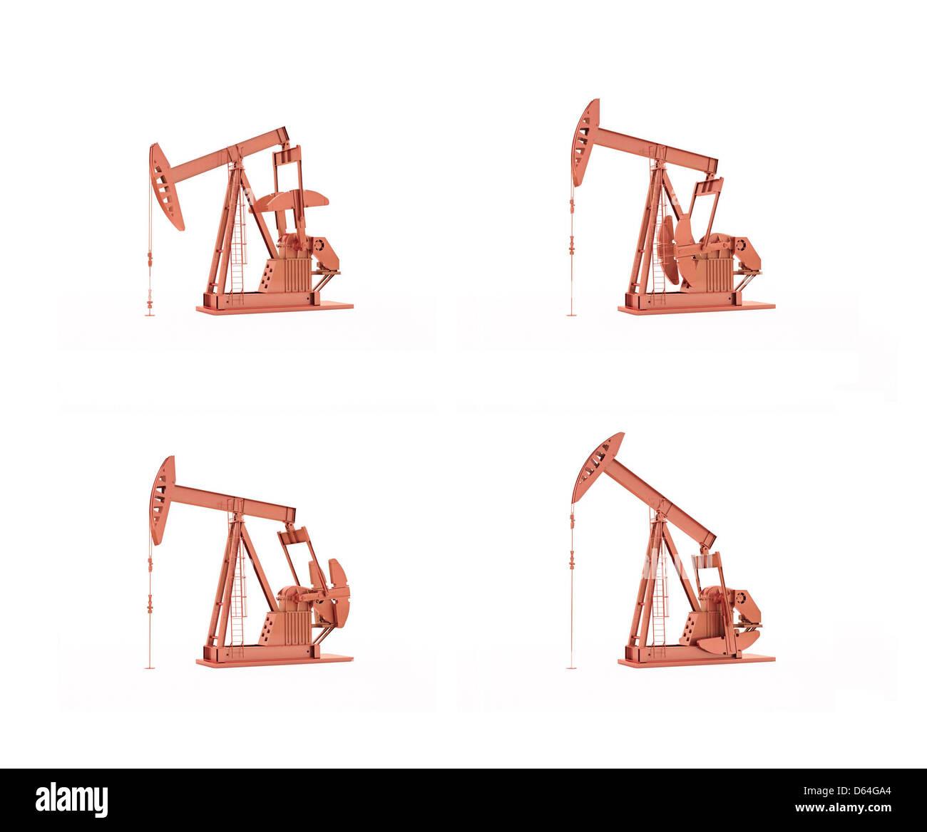 Oil pumps, artwork - Stock Image