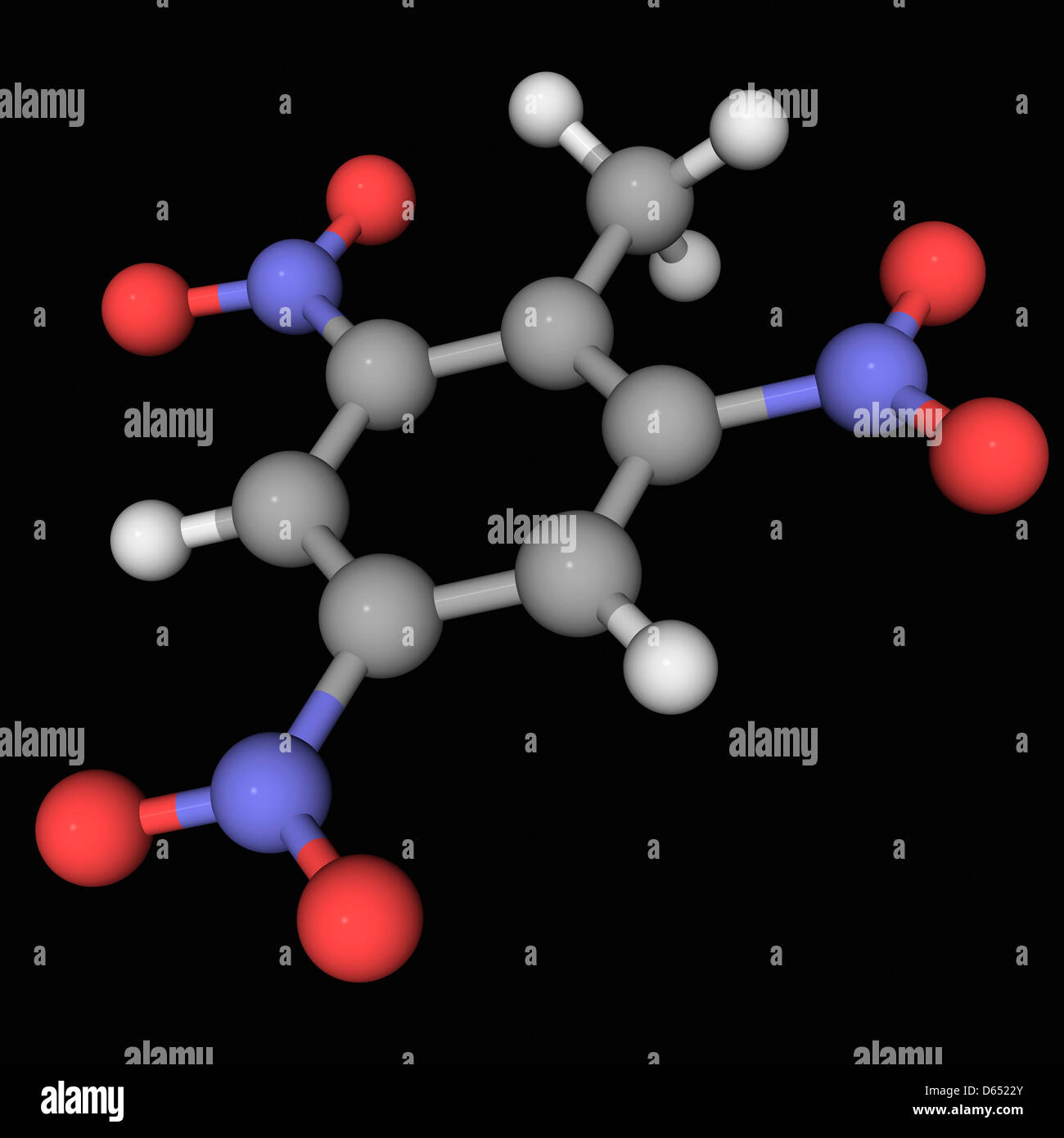 Trinitrotoluene TNT molecule - Stock Image