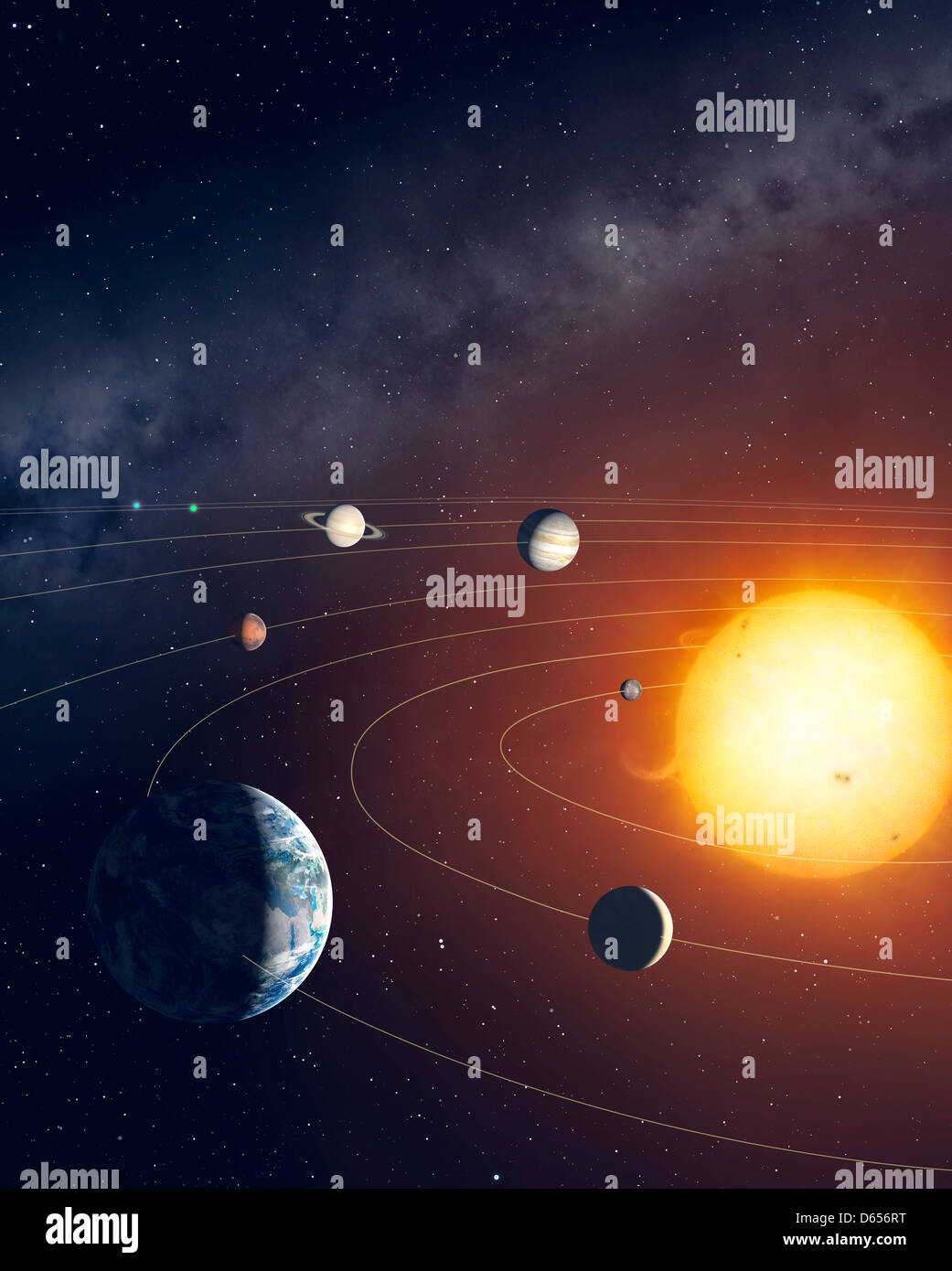 Orbits of planets in the Solar System - Stock Image