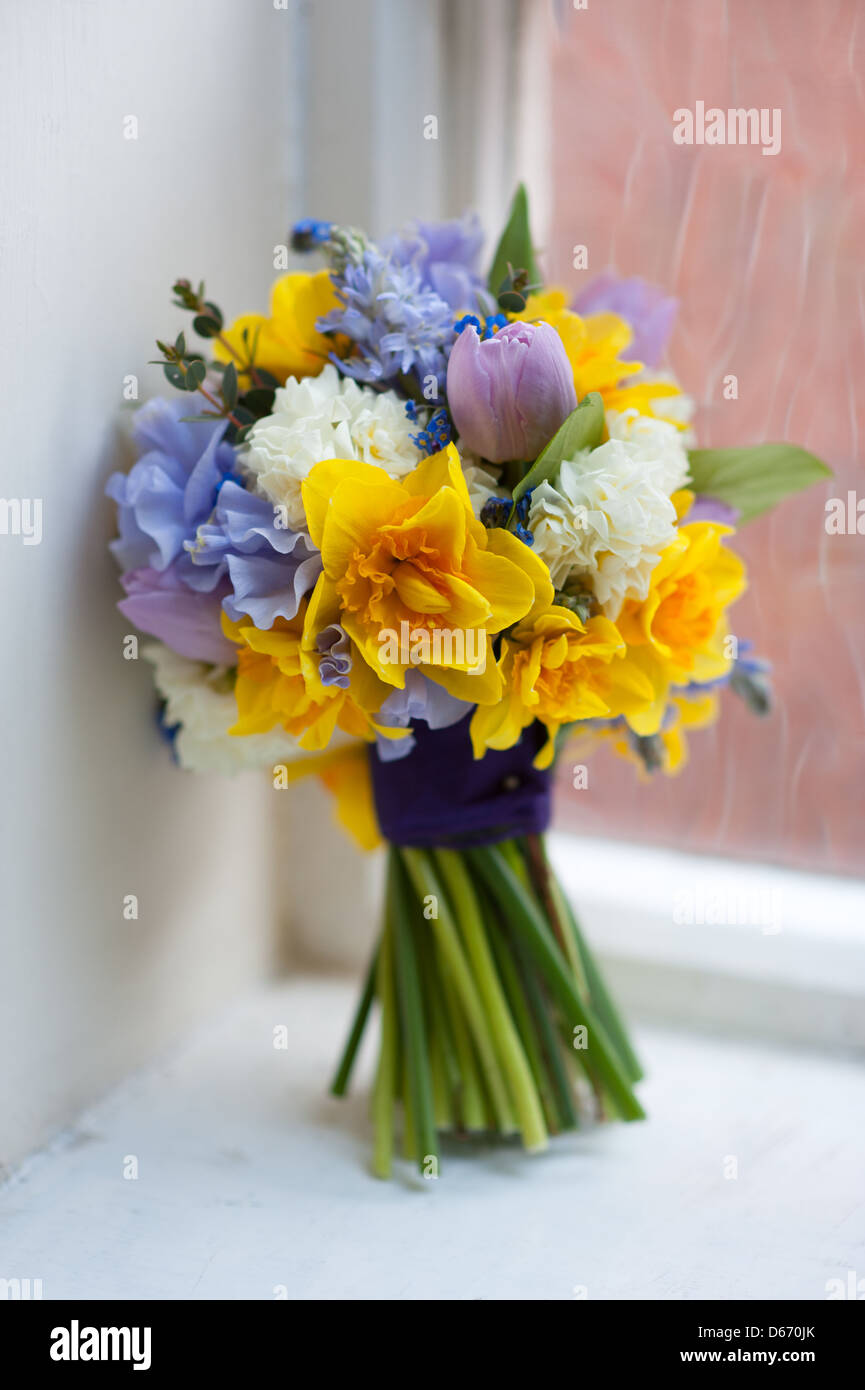 Wedding Bouquet Of Spring Flowers Including Daffodil Sweet Pea