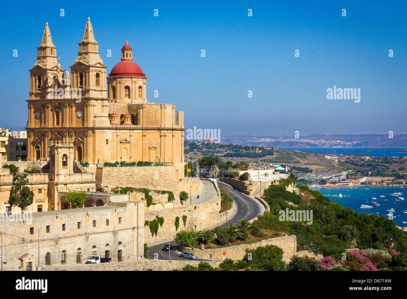 The Mellieha Parish Church in the morning, Malta Stock Photo
