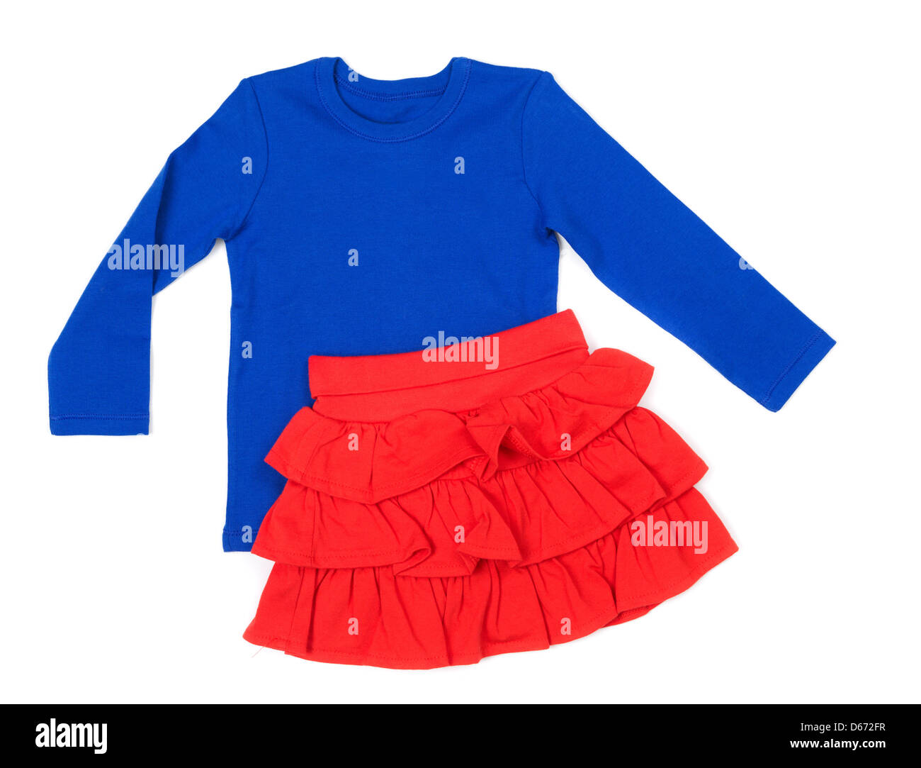 Baby Blue Blouse And Red Skirt Isolate On White Stock Photo