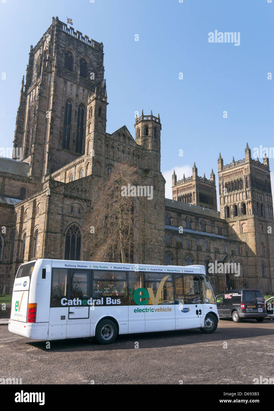 Durham Cathedral Electric Bus Parked In Palace Green Durham City