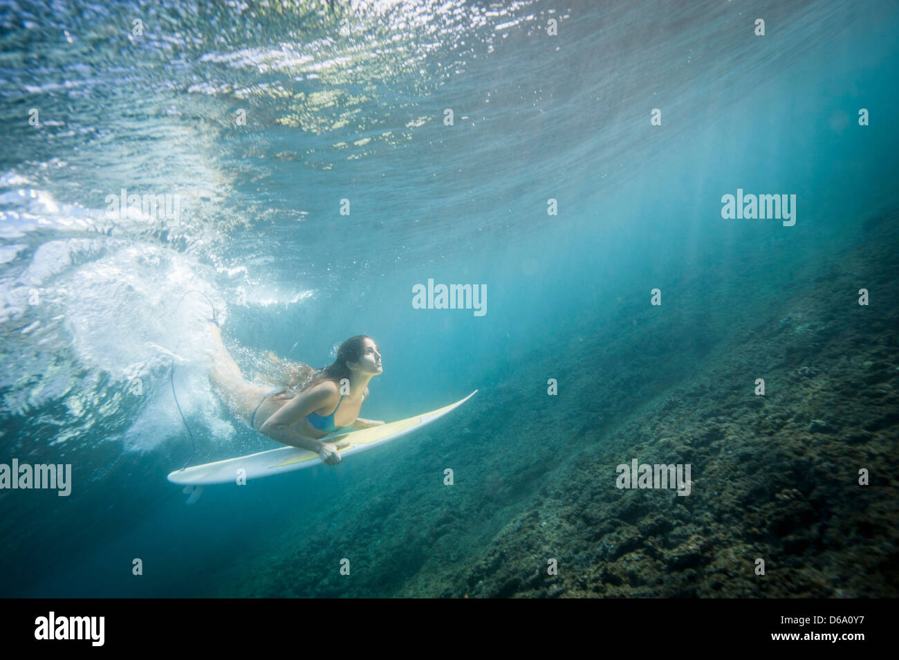 Surfer diving under wave in water - Stock Image