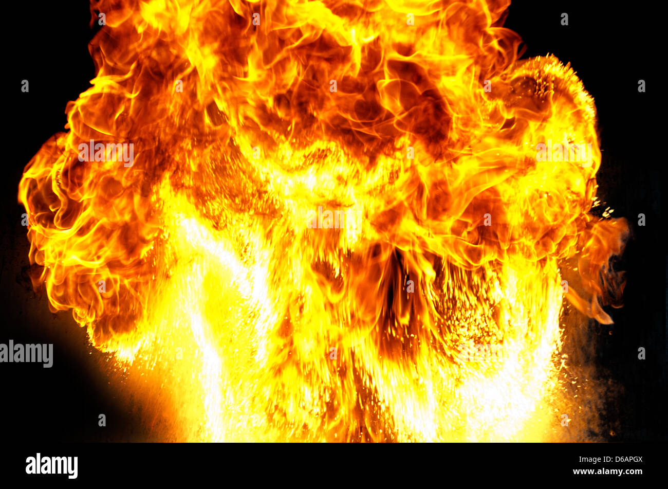 Massive mushroom shaped fire explosion with big flames. - Stock Image
