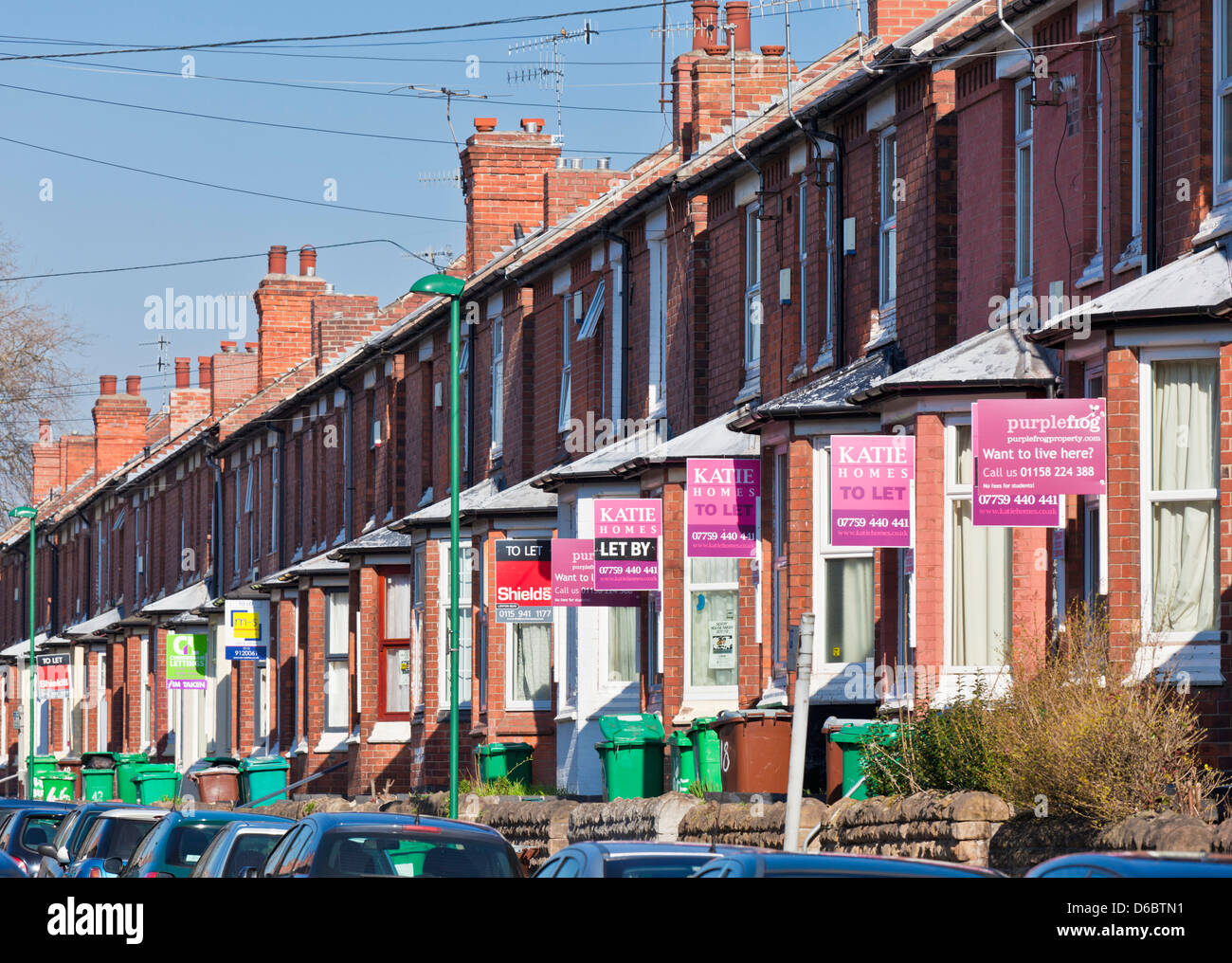 For sale and for rent signs in a residential area mainly for the student population of Nottingham and trent University Stock Photo