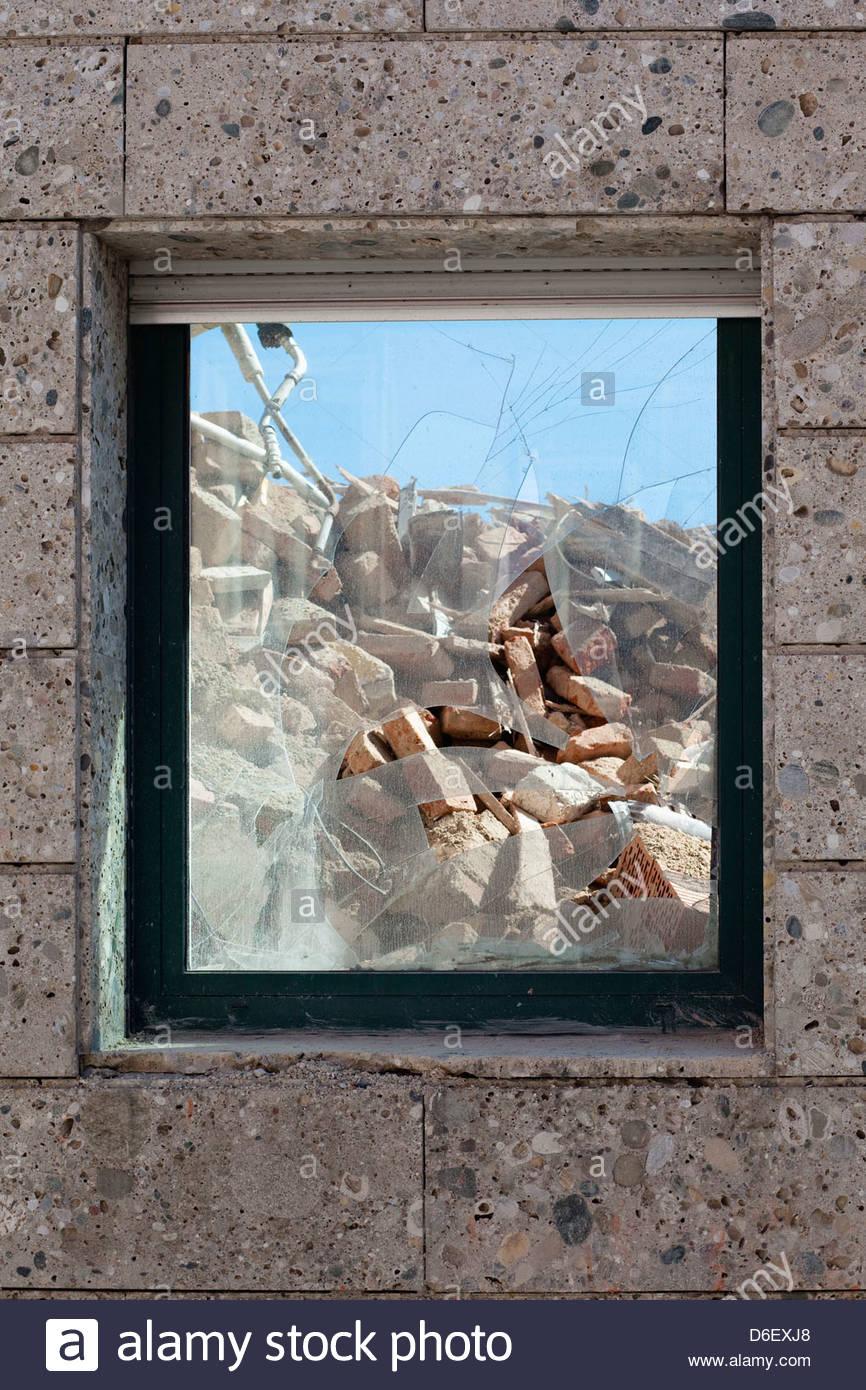 Demolition site building destruction window broken - Stock Image