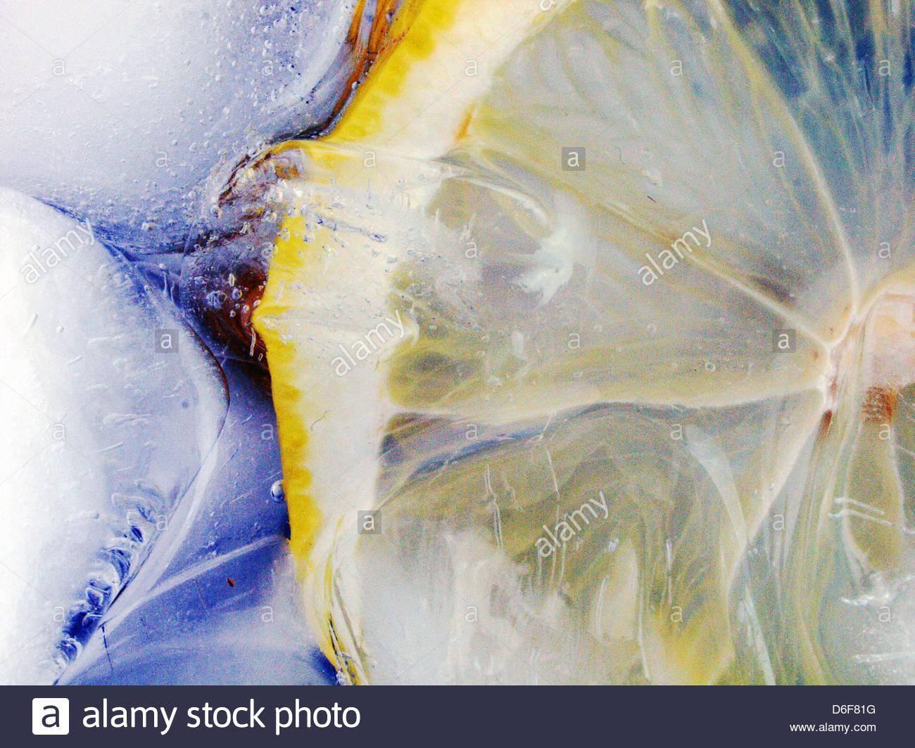 Lemon in ice - Stock Image