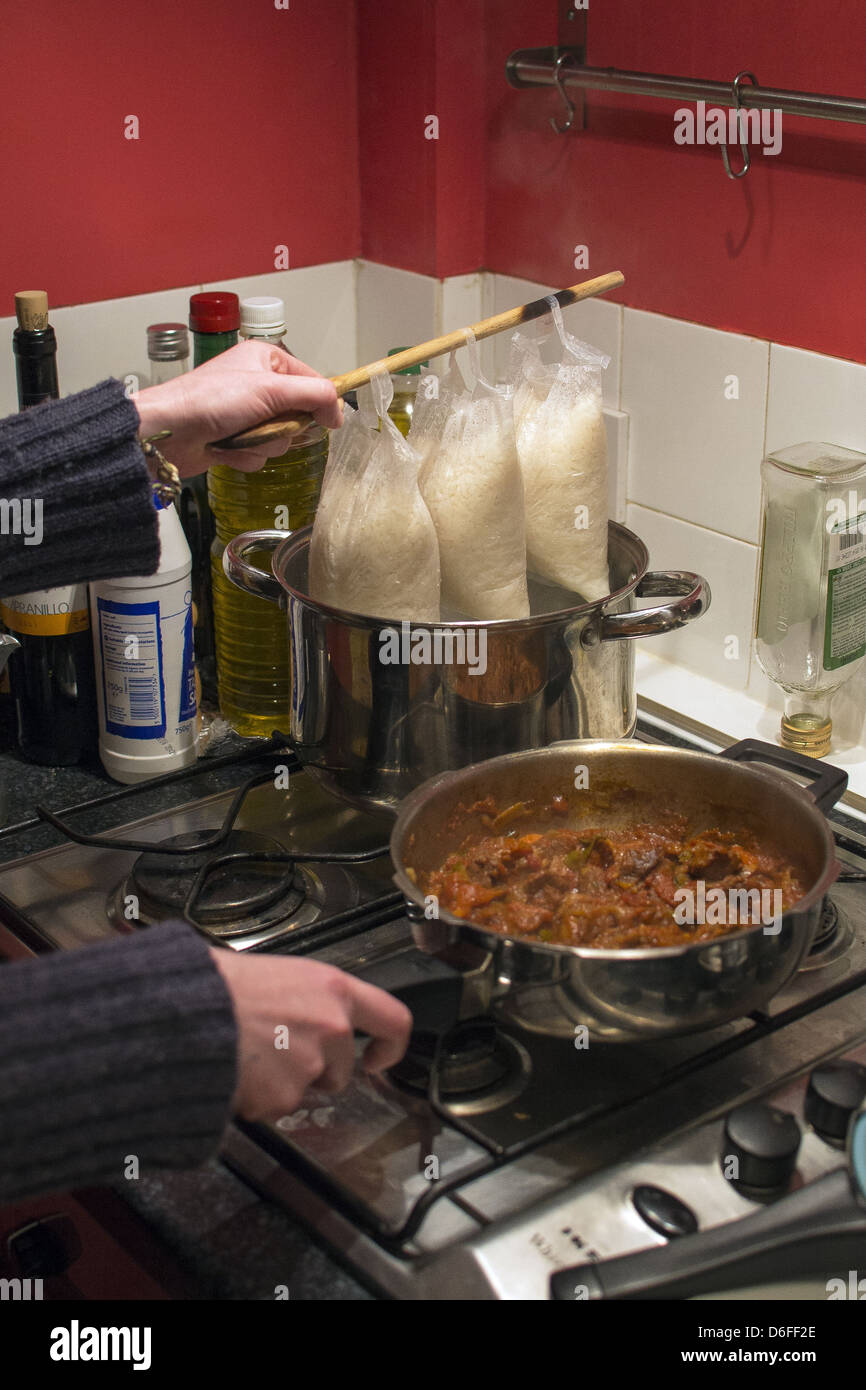 Boil in the bag rice with homemade curry - Stock Image