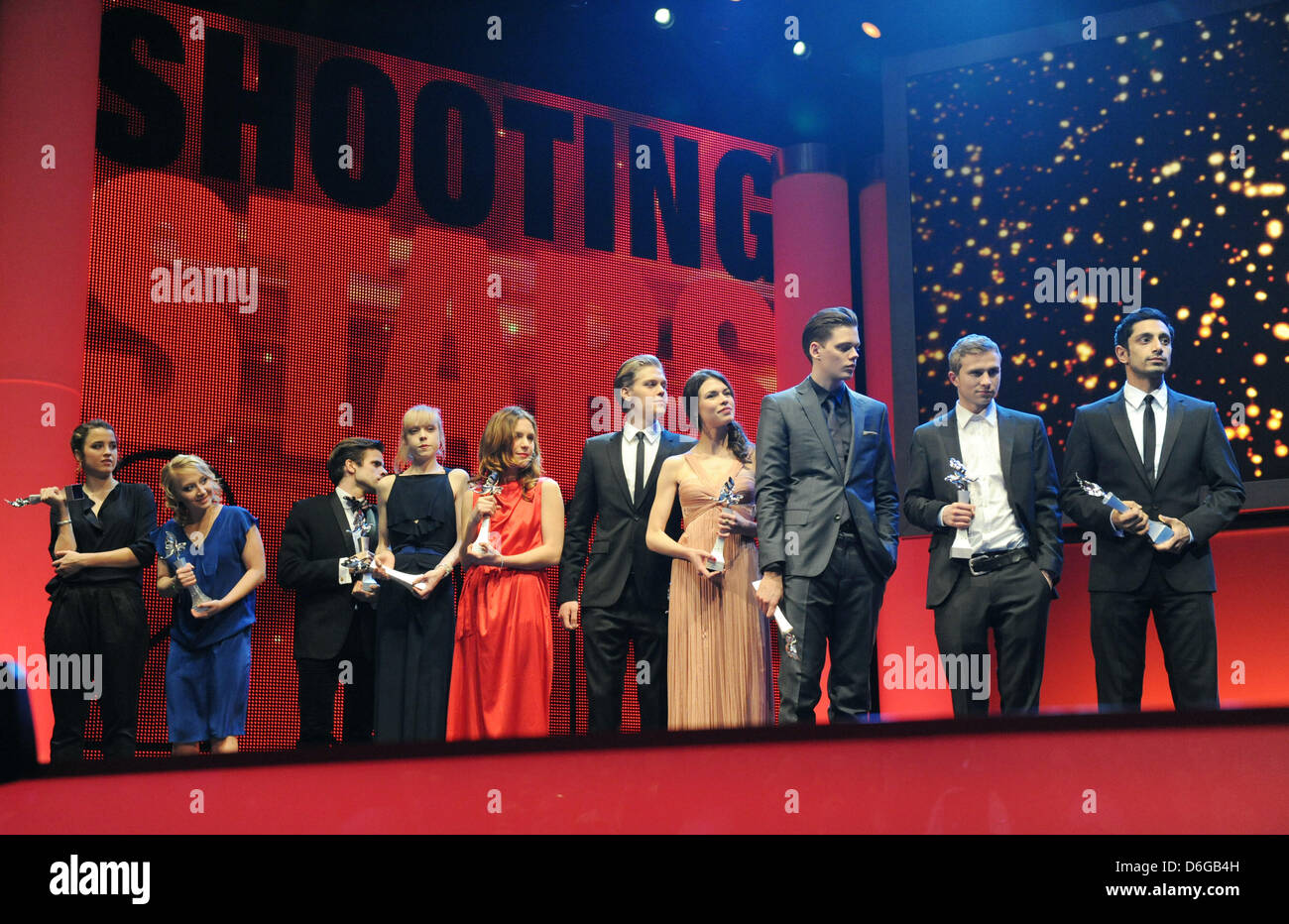 The Shooting Stars 2012 (L-R): Actors Adele Haenel (France), Anna Maria Muehe (Germany), Hilmar Gudjonsson (Iceland), - Stock Image