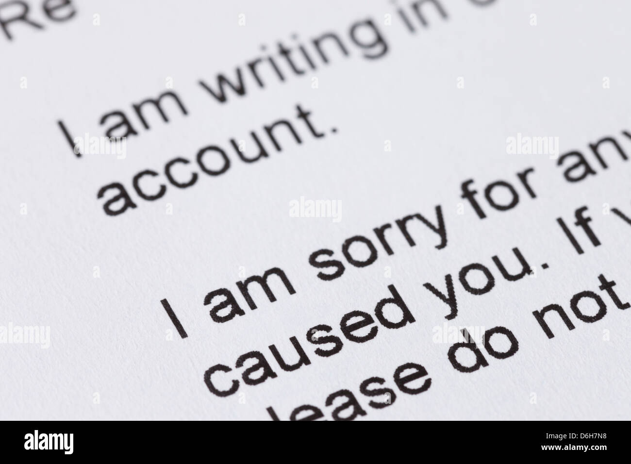 apology letter to an account holder from a company involved in stock
