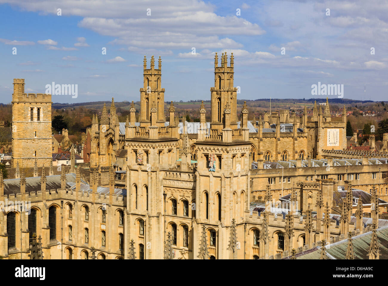 Oxford, Oxfordshire, England, UK. High view of Hawksmoor towers of All Souls College, the all fellows university - Stock Image