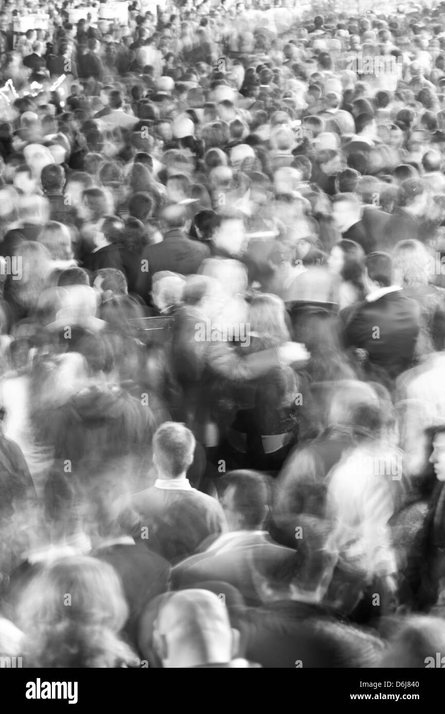 Motion blurred crowd of people, Seville, Andalucia, Spain, Europe - Stock Image