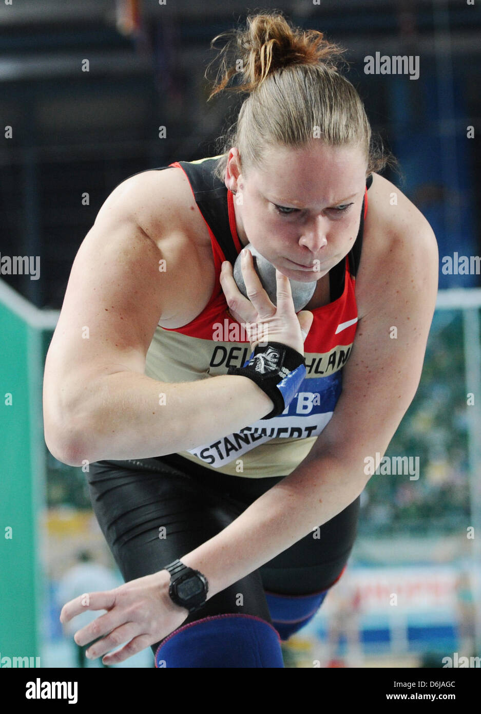 Germanys Nadine Kleinert competes in the Women shot put final at the IAAF World Indoor Championships at the Atakoy - Stock Image