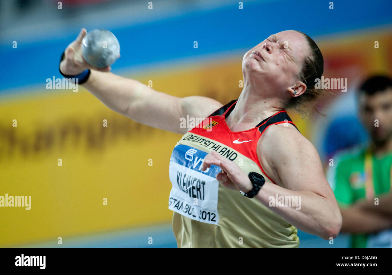 Nadine Kleinert of Germany competes in the Women's shot put final at the World Athletics Indoor Championship - Stock Image