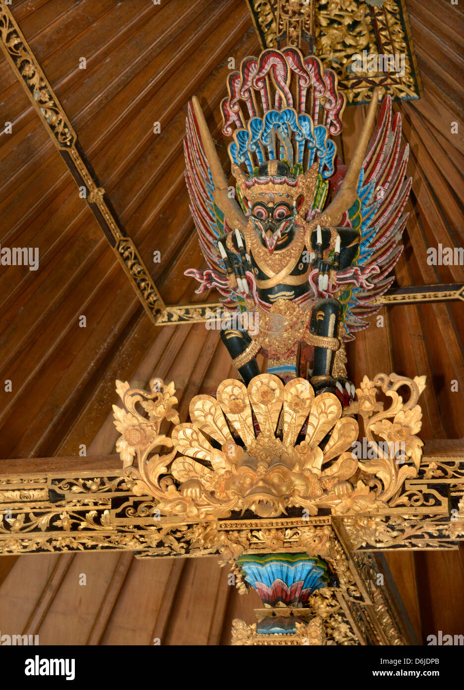 Garuda image above the bed beams of a wealthy Balinese household, Bali, Indonesia, Southeast Asia, Asia - Stock Image