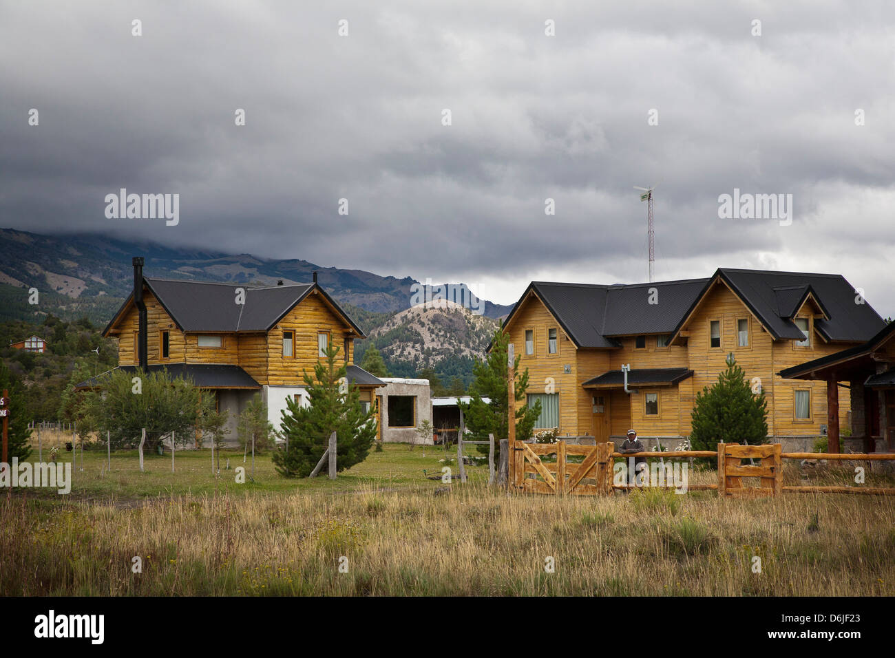 Alpine architecture in Villa Meliquina, Patagonia, Argentina, South America - Stock Image