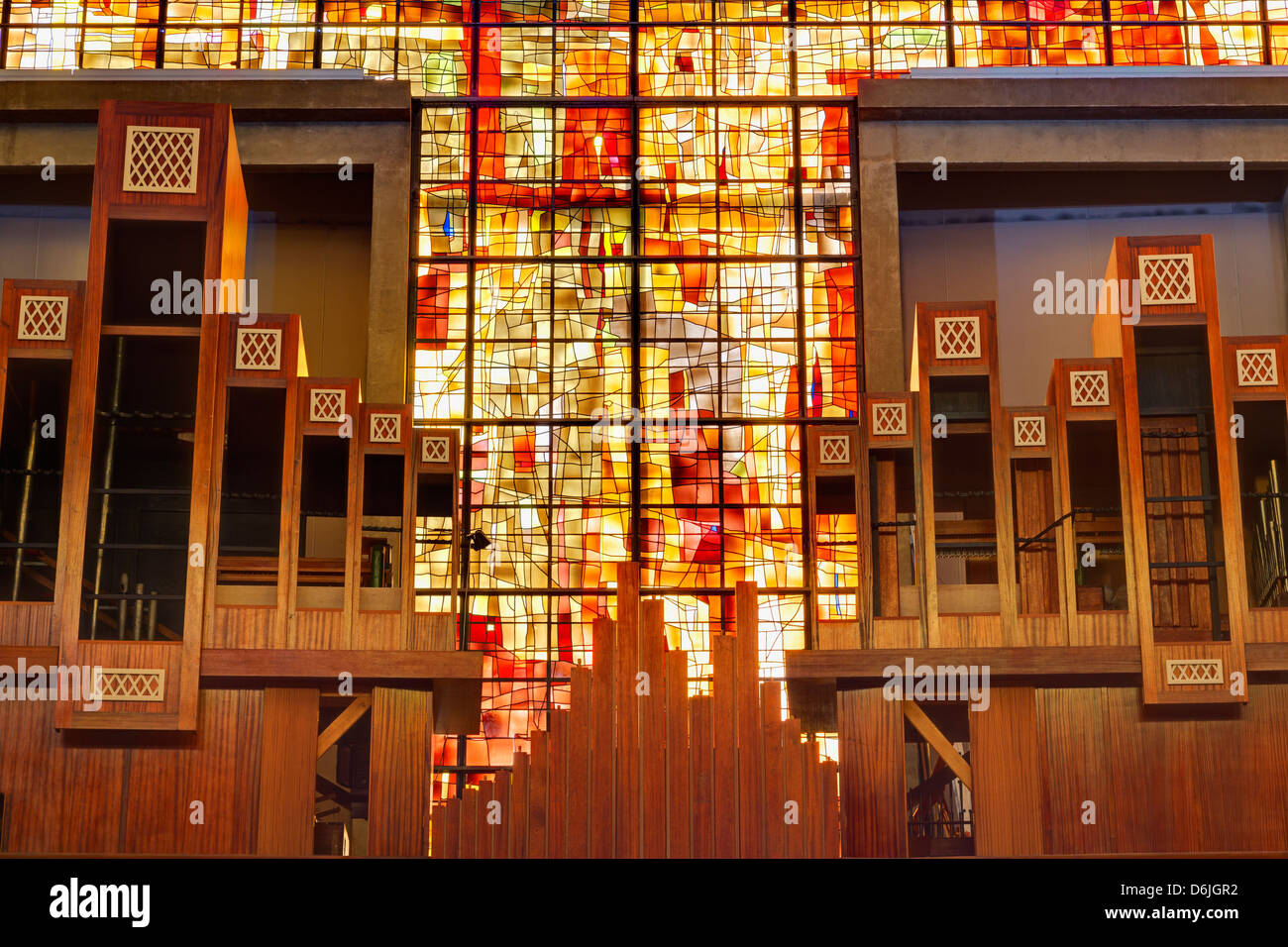 Stained glass in Saint Michel du Havre Church, Le Havre, Normandy, France, Europe - Stock Image