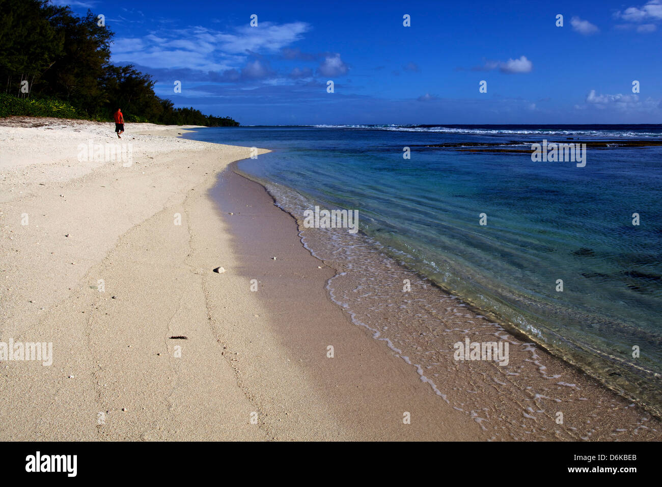 The Trou du Souffleur Beach on the west coast of Rurutu, Austral Islands, French Polynesia, Pacific Islands, Pacific - Stock Image