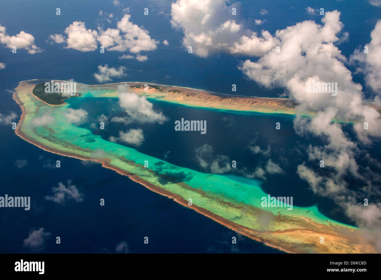 Aerial of the very beautiful Ant Atoll, Pohnpei, Micronesia, Pacific - Stock Image