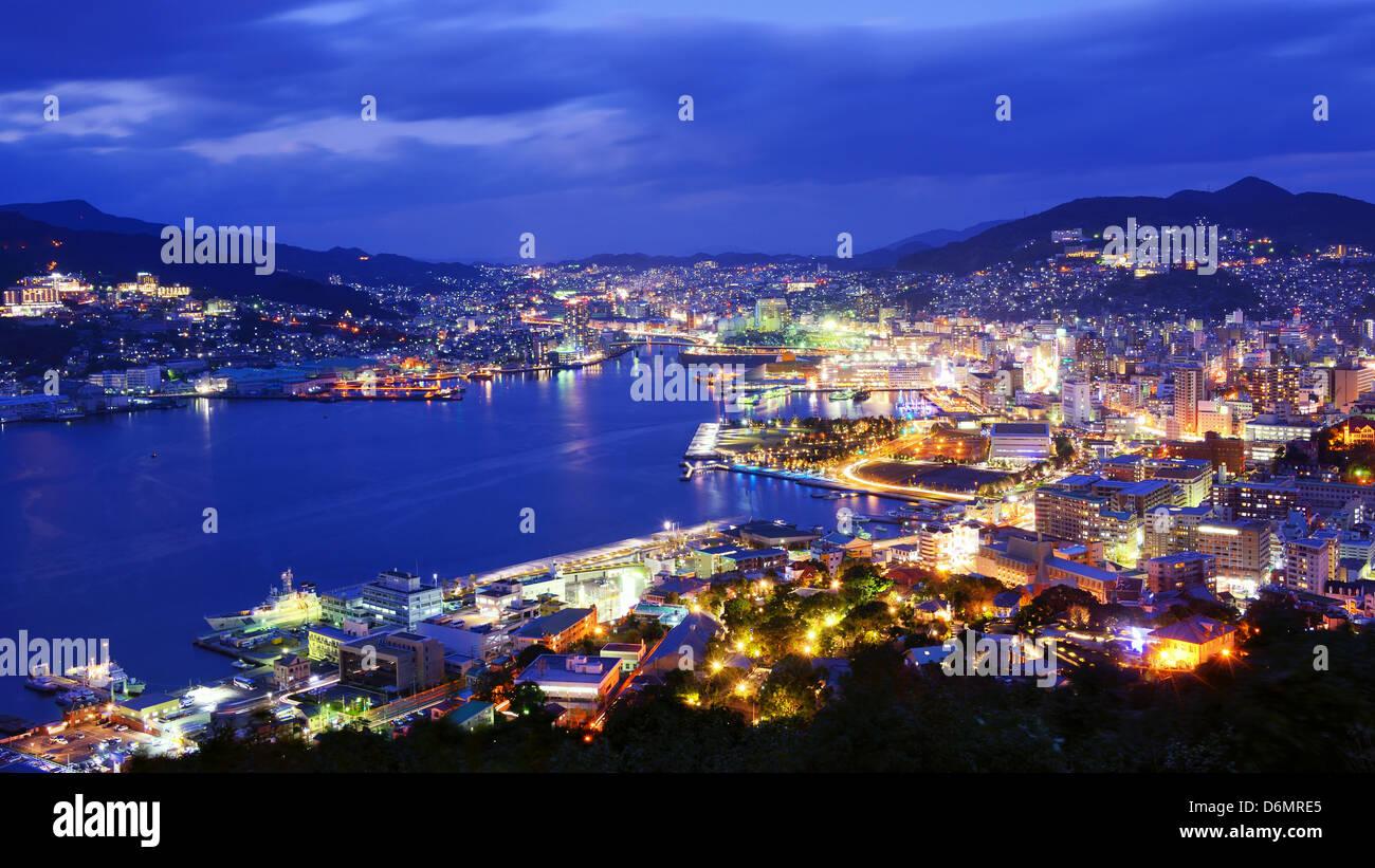 Skyline of the bay of Nagasaki, Japan. - Stock Image