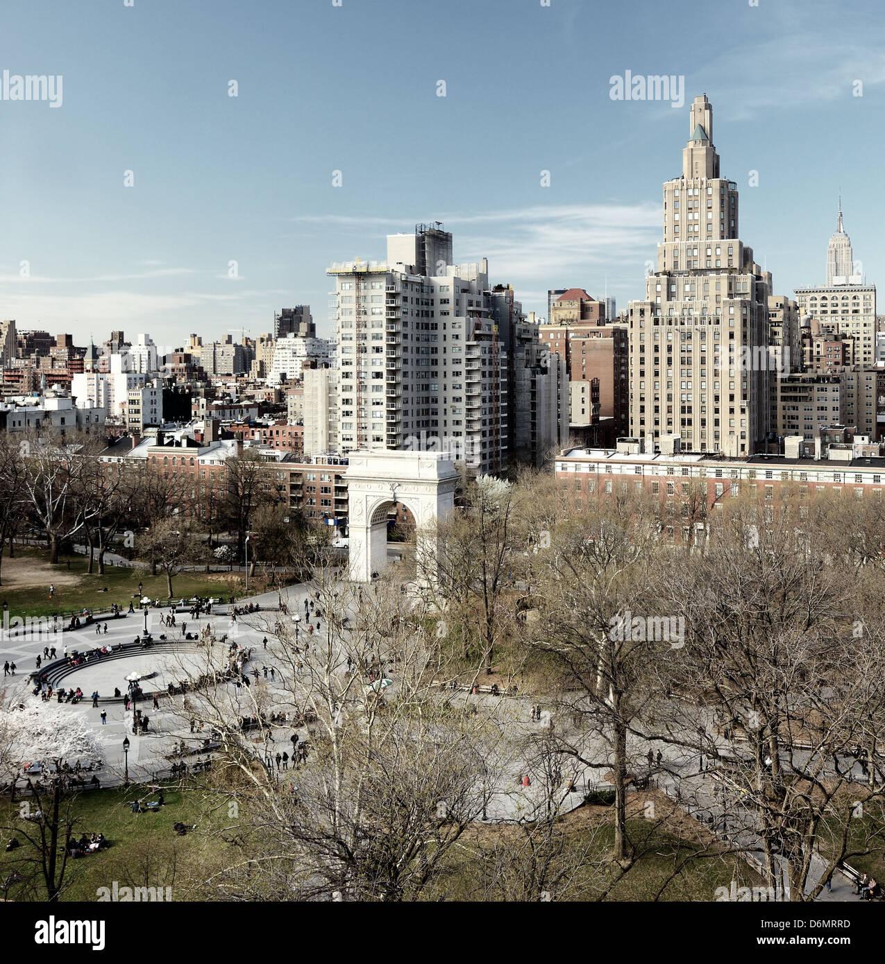 Washington Square Park in New York City - Stock Image