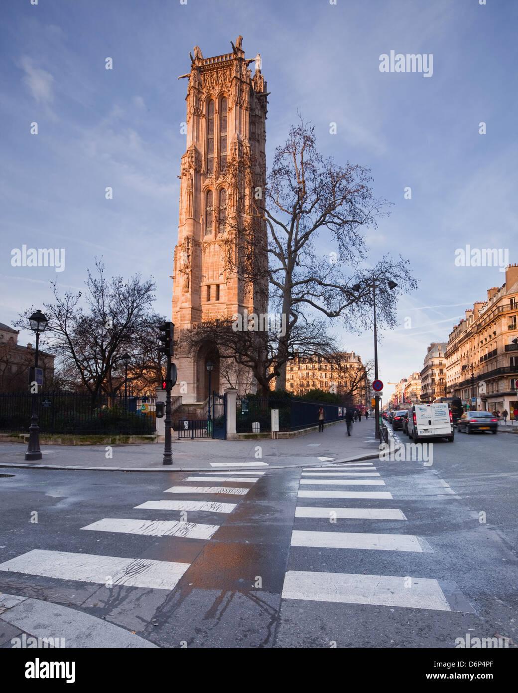 The gothic Tour Saint Jacques, Paris, France, Europe - Stock Image