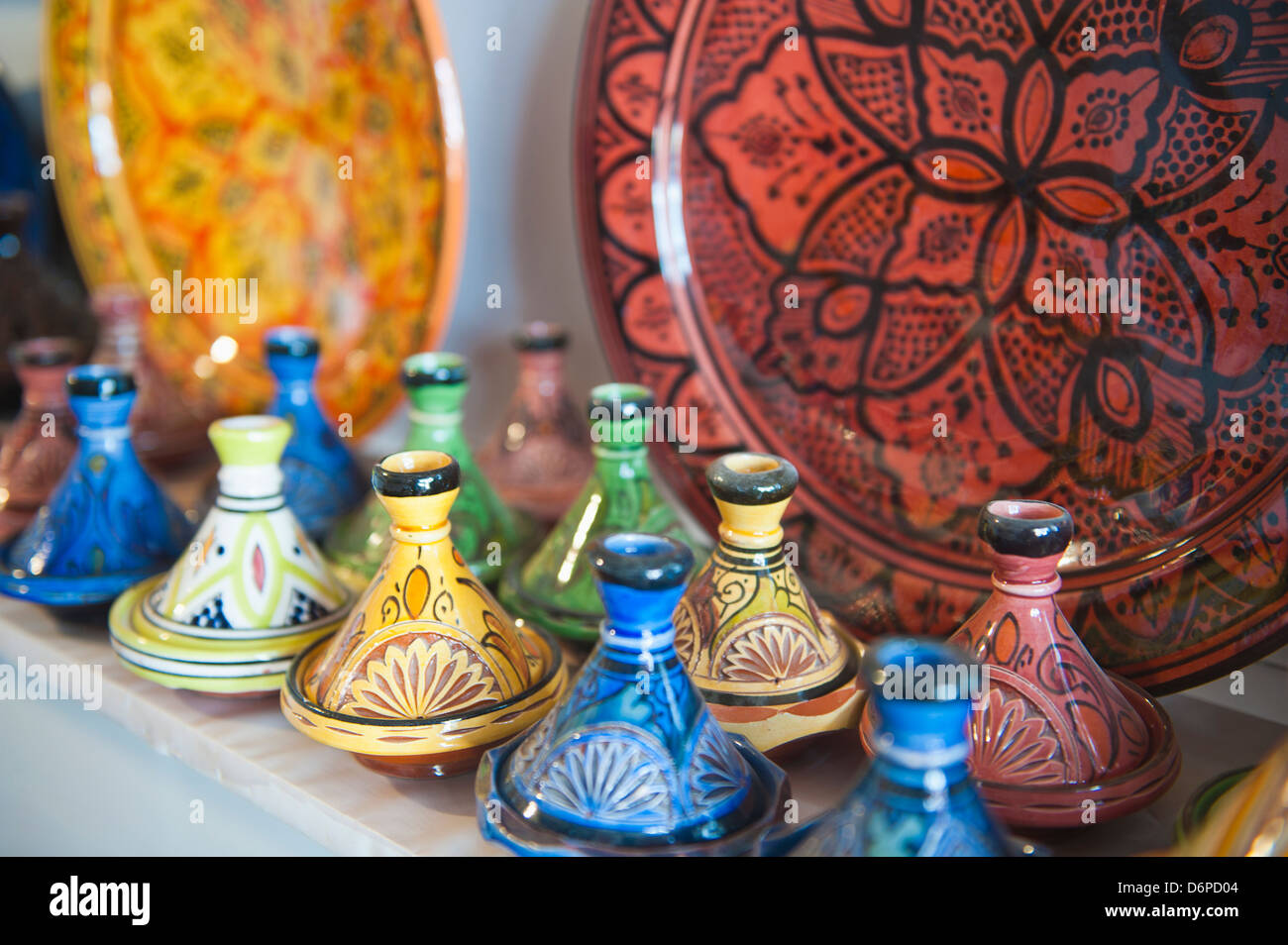 Ceramics for sale, Essaouira, formerly Mogador, Morocco, North Africa, Africa - Stock Image