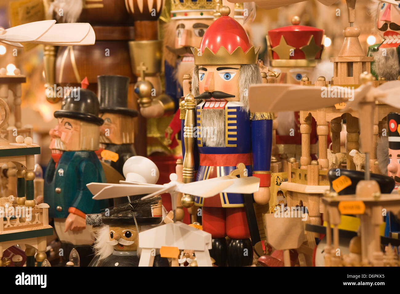Wooden Christmas ornaments for sale at the Dresden Striezelmarkt Christmas Market, Dresden, Saxony, Germany, Europe - Stock Image