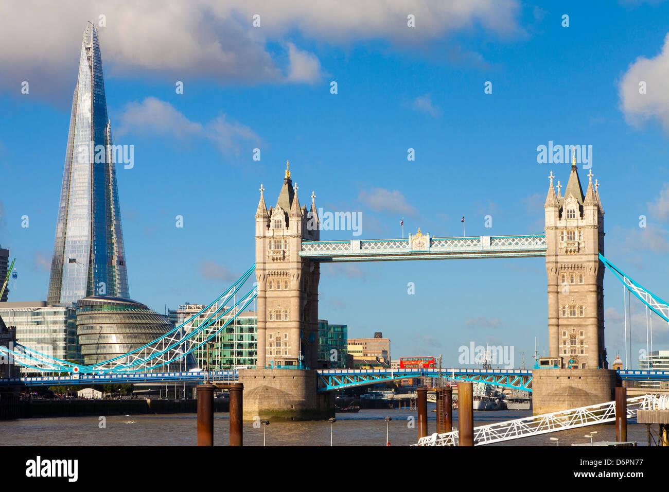 The Shard and Tower Bridge at night, London, England, United Kingdom, Europe - Stock Image