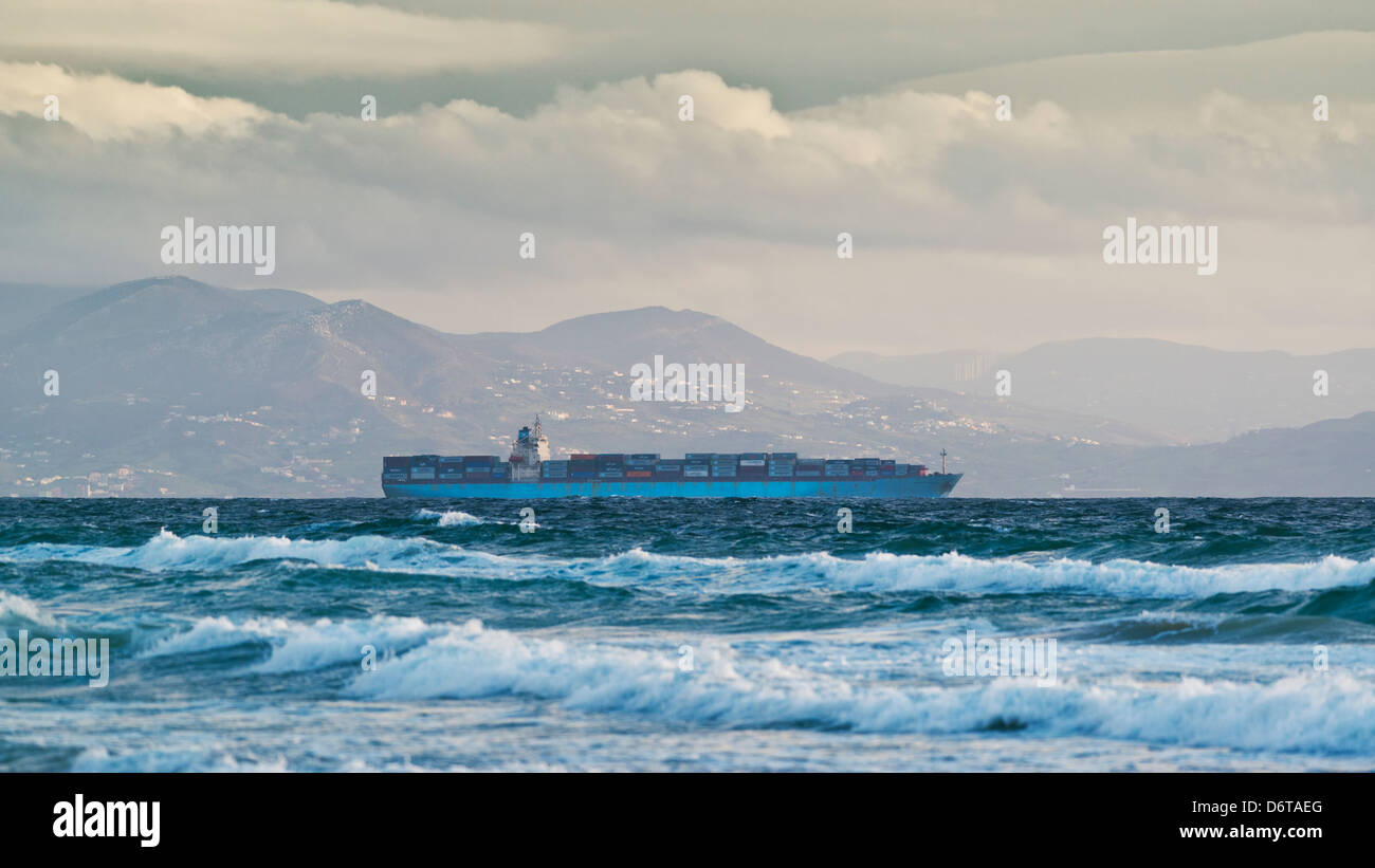 Ship going though the straits of gibraltar. - Stock Image