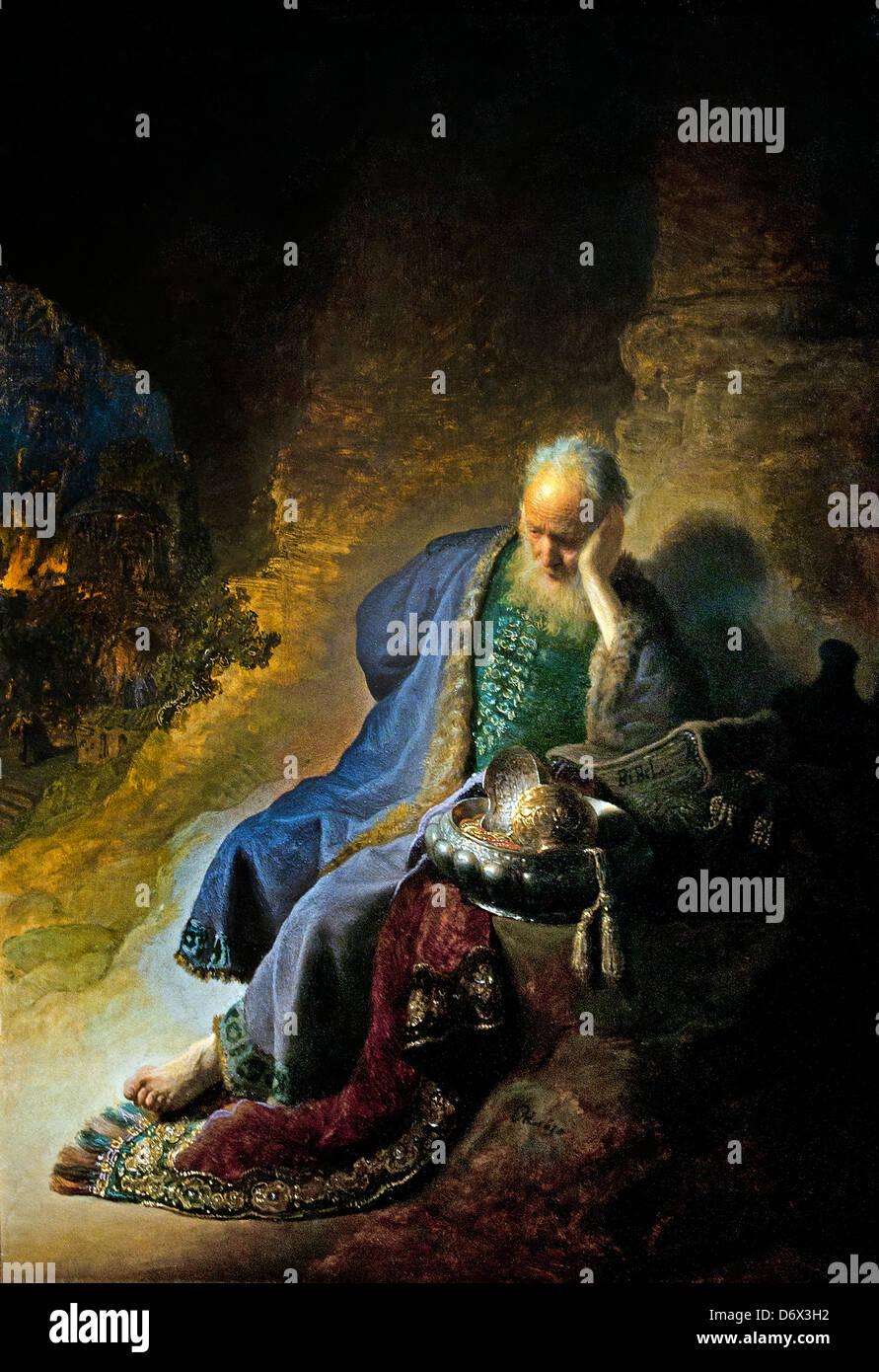 Jeremiah lamenting the destruction of Jerusalem 1630  Rembrandt Harmenszoon van Rijn Dutch 1606–1669 Netherlands - Stock Image