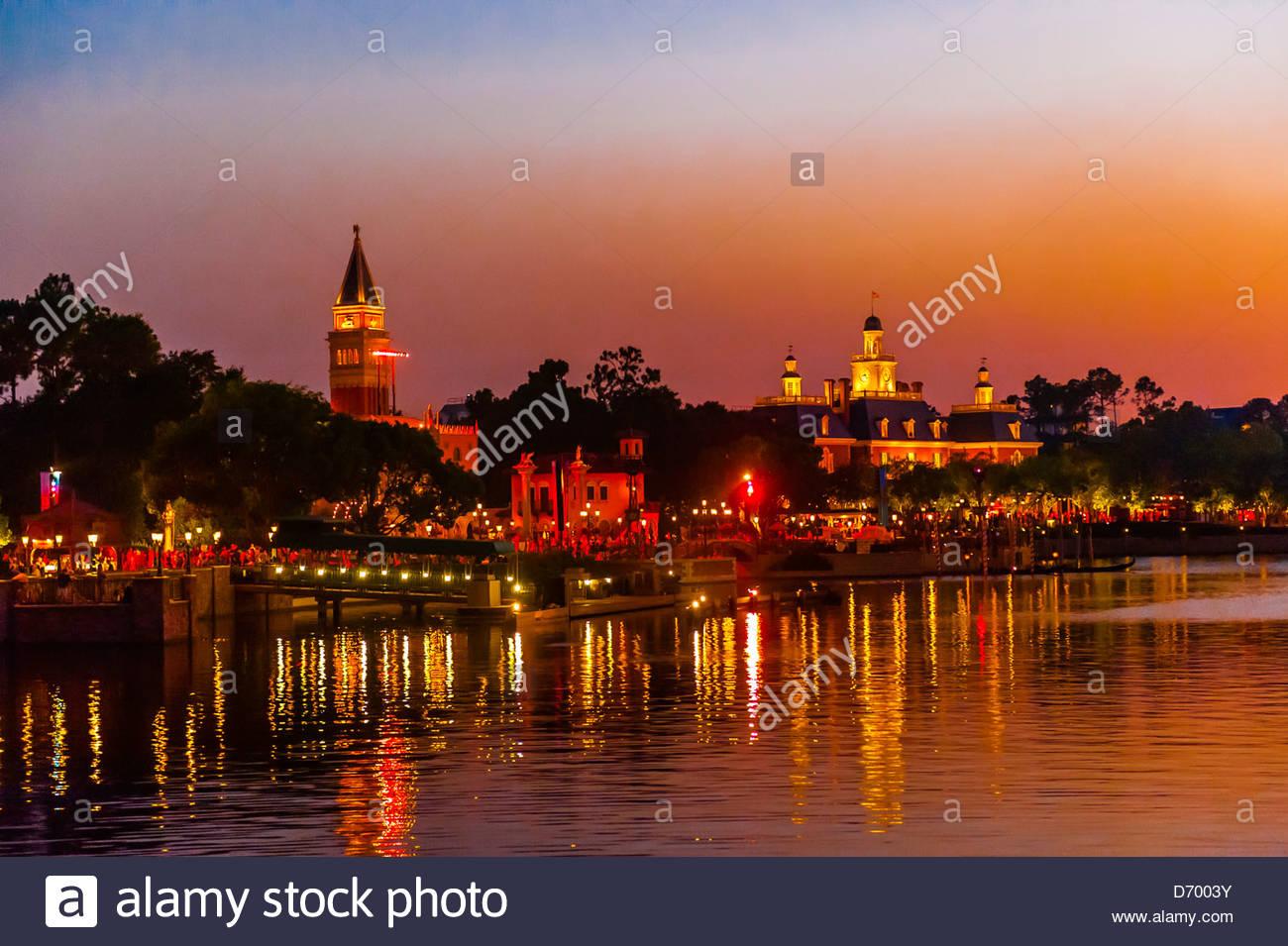 Italy pavilion and the American Adventure, World Showcase, Epcot, Walt Disney World, Orlando, Florida USA - Stock Image