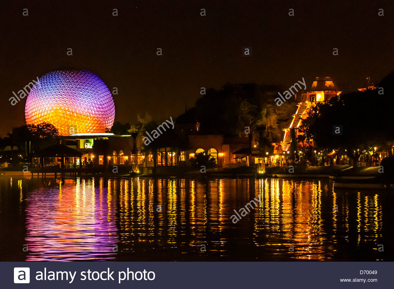 World Showcase Lagoon with Spaceship Earth (geosphere) in background, Epcot, Walt Disney World, Orlando, Florida - Stock Image