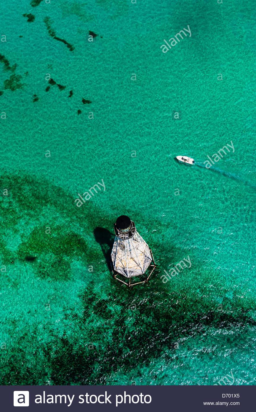 Aerial View, Alligator Light (lighthouse), Islamorada Key, Florida Keys, Florida USA - Stock Image