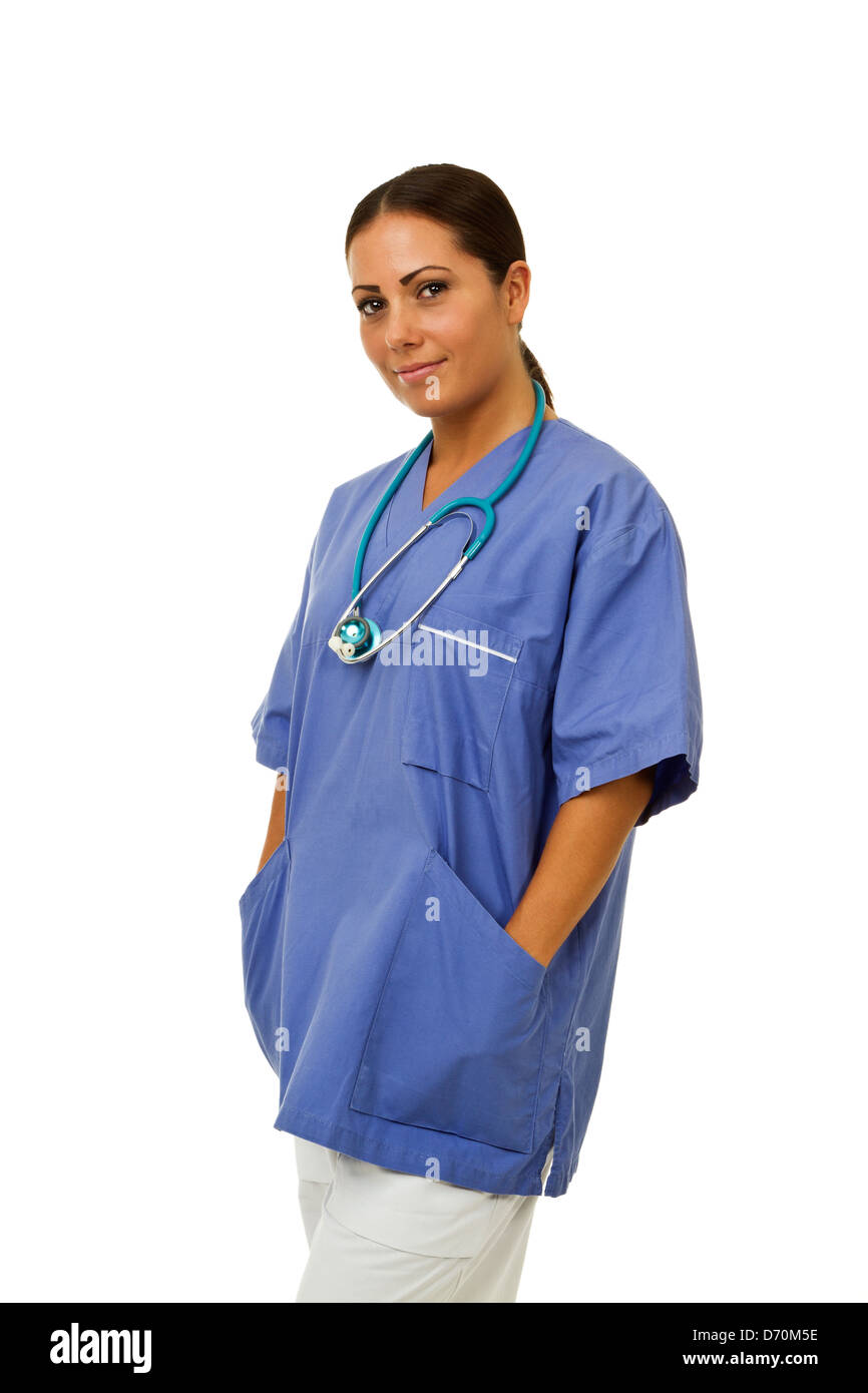 Professional looking female doctor with a hint of a smile. Isolated on white. - Stock Image