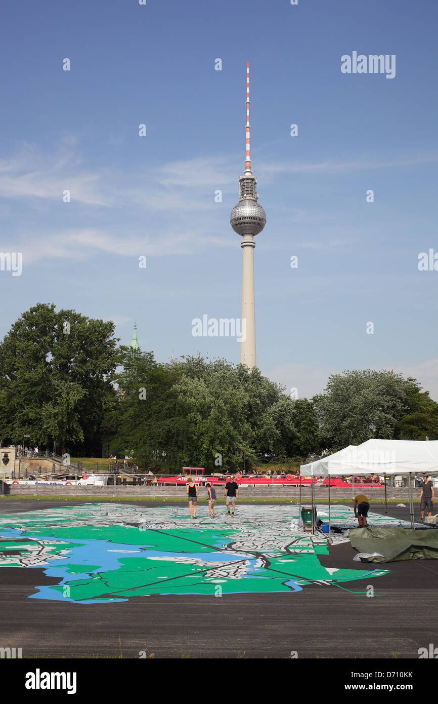 berlin germany the largest paint jobs walk in map stock photo
