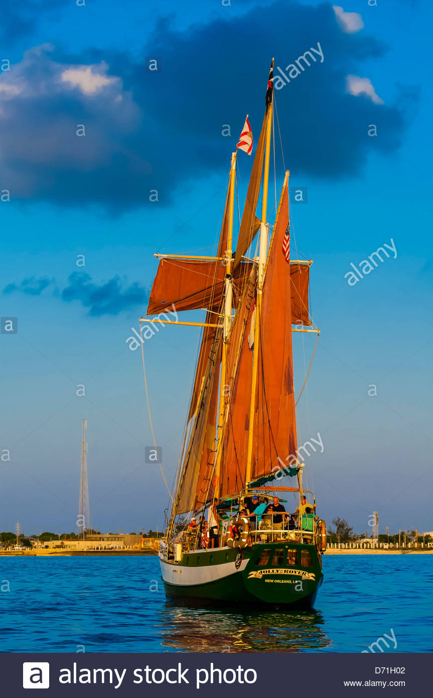 Jolly Rover II sailing off Key West, Florida Keys, Florida USA - Stock Image